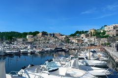 Mountains and Yachts and Birds - Bay - Yacht City stock photography