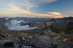 Mountainscape al tramonto Fotografia Stock Libera da Diritti