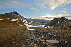 Mountainscape al tramonto Fotografie Stock