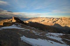Mountainscape al tramonto Fotografia Stock
