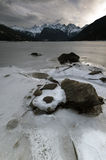 Mountainscape Alive. A view of the Cheam Range from a frozen Jones Lake, Fraser Valley, BC, Canada Stock Photos