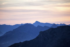 Mountainscape at sunset Stock Photography