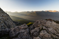Mountainscape at sunset Stock Image