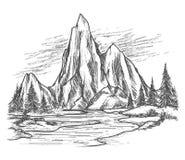 Mountainsee mit Kiefern stock abbildung