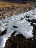 Mountainseeabdeckung mit Eis Lizenzfreie Stockfotografie