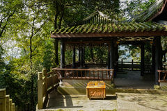 Mountainside Chinese traditional gazebo in sunny winter Royalty Free Stock Photography