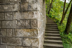 Mountainside stone steps along ancient Chinese wall Stock Photography