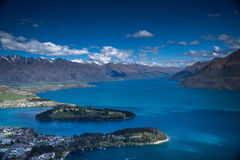 Mountainside view of Queenstown NZ. Taken from atop a gondola lift, 1500' above the town Stock Photo