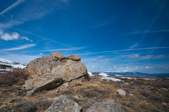 Mountaintop Boulder in Sierra Nevada Royalty Free Stock Photography