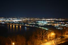 Mountaintop cityscape. Mountaintop view of Chattanooga water and landscape Stock Photos