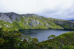 Mountaintop Lake and skyline. In Tasmania Royalty Free Stock Photo