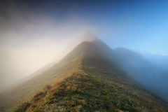 Mountaintop in morning fog. Alps Royalty Free Stock Photography