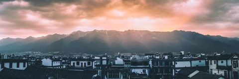 Mountaintop Sunset in China royalty free stock photography