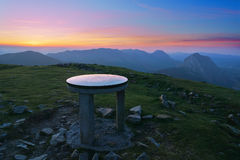 Mountaintop in Urkiolamendi with orientation table Stock Images