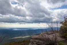 Catskill Mountain View and Ashokan Reservoir. A mountaintop view across the Hudson Valley to the Ashokan Reservoir in Ulster County royalty free stock photography