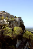 Mountaintop village. Medieval castle of Les Baux viewed at a distance Royalty Free Stock Photo