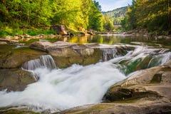 Mountain waterfall Guk in the wood. Ukrainian Carpathians. Mountainwaterfall Guk in the wood landscape. Ukrainian Carpathians Stock Image