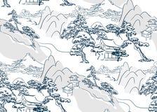 Mountais orientais do teste padrão japonês chinês do vetor do lanscape sem emenda ilustração do vetor