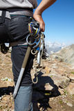 Mountaneer with climbing equipment Royalty Free Stock Photo