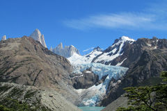 Mountani Fitz Roy peak and glacier stock photos