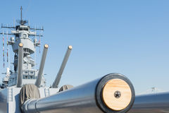 Mounted artillery on board Battleship USS Iowa Stock Images