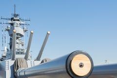 Mounted artillery on board Battleship USS Iowa. San Pedro, CA - November 8: Mounted artillery on board Battleship USS Iowa on display at the Veterans Week in Stock Images