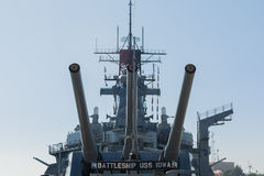 Mounted artillery on board Battleship USS Iowa. San Pedro, CA - November 8: Mounted artillery on board Battleship USS Iowa on display at the Veterans Week in Royalty Free Stock Images