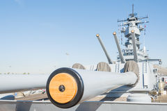 Mounted artillery on board Battleship USS Iowa Stock Image