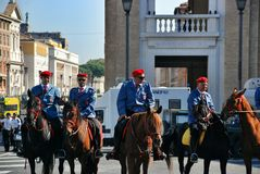 Mounted constabulary in Rome. St. Peters square before the Speech of the Pope in the square at St. Peters Basilica, Mounted police, Priest on horseback Stock Photos