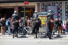 Mounted Cops. Three mounted police officers in Times Square, New York Stock Photo