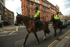 Mounted English policemen in London , England Stock Images