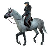 Mounted Knight. An armoured knight mounted on a dappled horse vector illustration