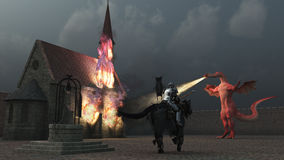 Mounted knight confronts fire breathing dragon. A lone mounted knight lowers his lance to charge huge dragon spouting flame at church inside the castle walls Royalty Free Stock Photos