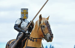 Mounted Knight ready. Saturday August 13, 2011 Washington State Renaissance Fayre held this year in Bonney Lake Washington.  Here a Knight mounted on his trusty Stock Photo