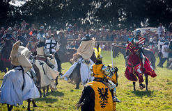 Mounted Knights attack at Grunwald stock photo