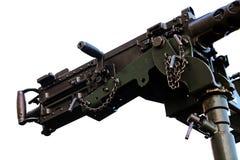 Mounted Machine Gun. Detail isolated on white Royalty Free Stock Photo