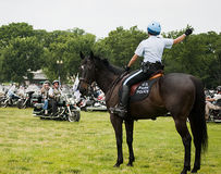 Mounted Park Police Woman Directs Rolling Thunder Stock Photo