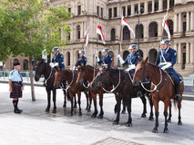 Mounted Police in Brisbane. A small group of mounted police getting ready for the re-opening ceremony for the Brisbane Town Hall in April 2013 Royalty Free Stock Photo