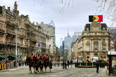 Mounted police in Brussels Royalty Free Stock Photo