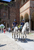 Mounted police in Castello Sforzesco, Milan Stock Image