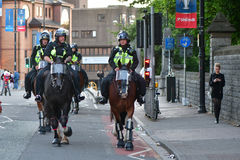 Mounted police ensure safety during Champions League Final Stock Images
