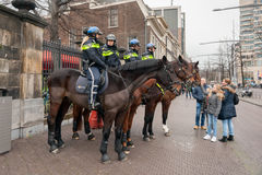 Mounted Police in Holland Royalty Free Stock Image