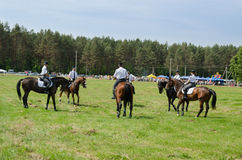 Mounted police horse riders performance show Stock Photos