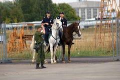 Mounted police at MAKS International Aerospace Salon Royalty Free Stock Images