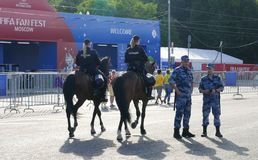 Mounted police in Moscow. At the World Cup royalty free stock photo