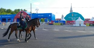 Mounted police in Moscow. At the World Cup stock photos