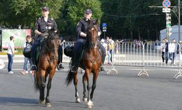 Mounted police in Moscow. At the World Cup stock image