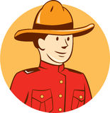 Mounted Police Officer Bust Circle Cartoon Royalty Free Stock Images