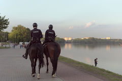 Mounted police in the Park Kolomenskoye. Moscow, Russia. Stock Photos