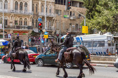 Mounted police, patrol in Jerusalem Royalty Free Stock Image